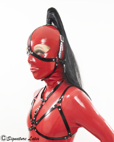 Latex  Head Harness with removable ponytail